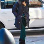 Sarah Jessica Parker in a Green Sweatpants Attends Her Shoe Store in New York