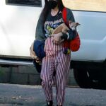 Scout Willis in a Striped Pants Visits a Friend with Her Dog in Los Angeles