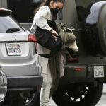 Shay Mitchell in a White Sneakers Pumps Gas Out in Los Feliz