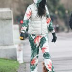 Sinitta in a Floral Jumpsuit Walks Her Dog in Hammersmith Park in London