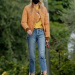 Stella Maxwell in an Orange Jacket Walks Her Dog in Los Angeles