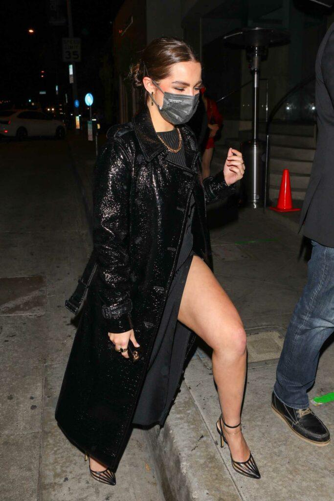 Addison Rae in a Black Coat