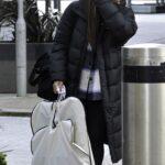 Alex Scott in a Black Puffer Coat Leaves a Studios in Manchester