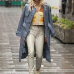 Ashley Roberts in a Grey Leather Coat Leaves the Global Radio Studios in London