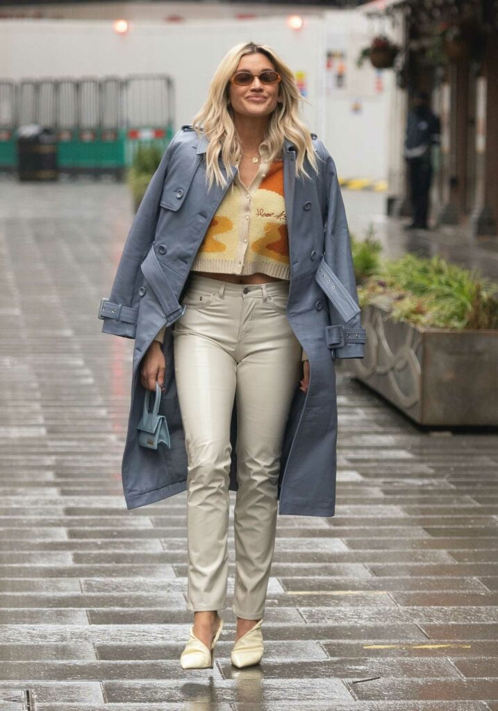 Ashley Roberts in a Grey Leather Coat