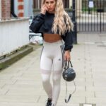 Bianca Gascoigne in a White Adidas Leggings Was Seen Out in Central London