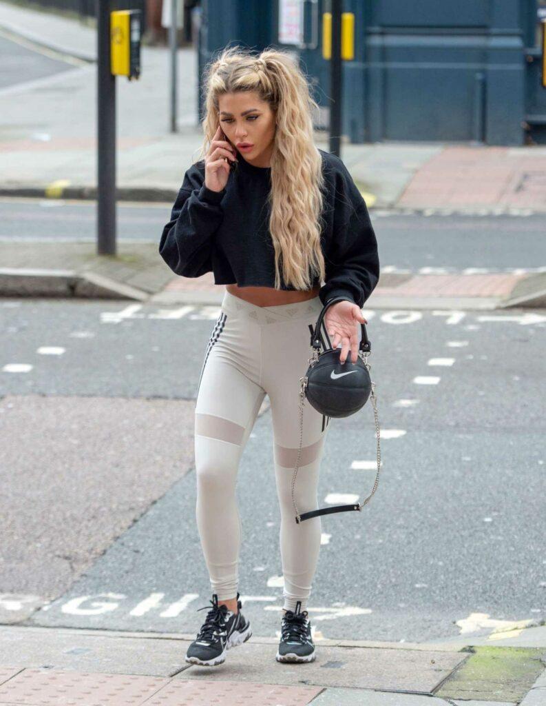 Bianca Gascoigne in a White Adidas Leggings