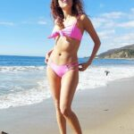 Blanca Blanco in a Pink Bikini on the Beach in Malibu