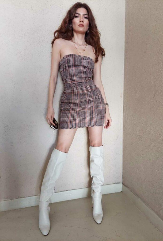 Blanca Blanco in a Plaid Dress