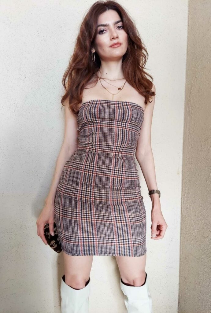 Blanca Blanco in a Plaid Dress