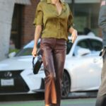 Charlotte McKinney in an Olive Blouse Was Spotted Out with Her Boyfriend in Santa Monica