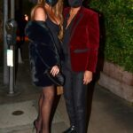 Chrissy Teigen in a Black Mini Dress Enjoys a Romantic Valentine's Day Dinner Out with John Legend in Los Angeles