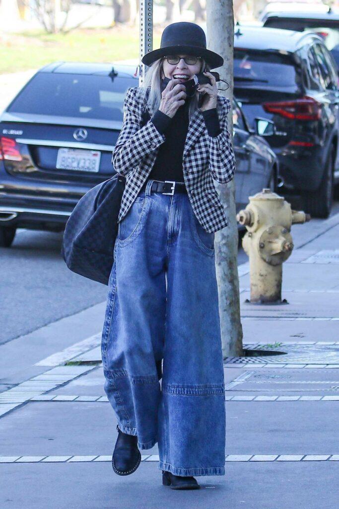 Diane Keaton in a Checked Blazer
