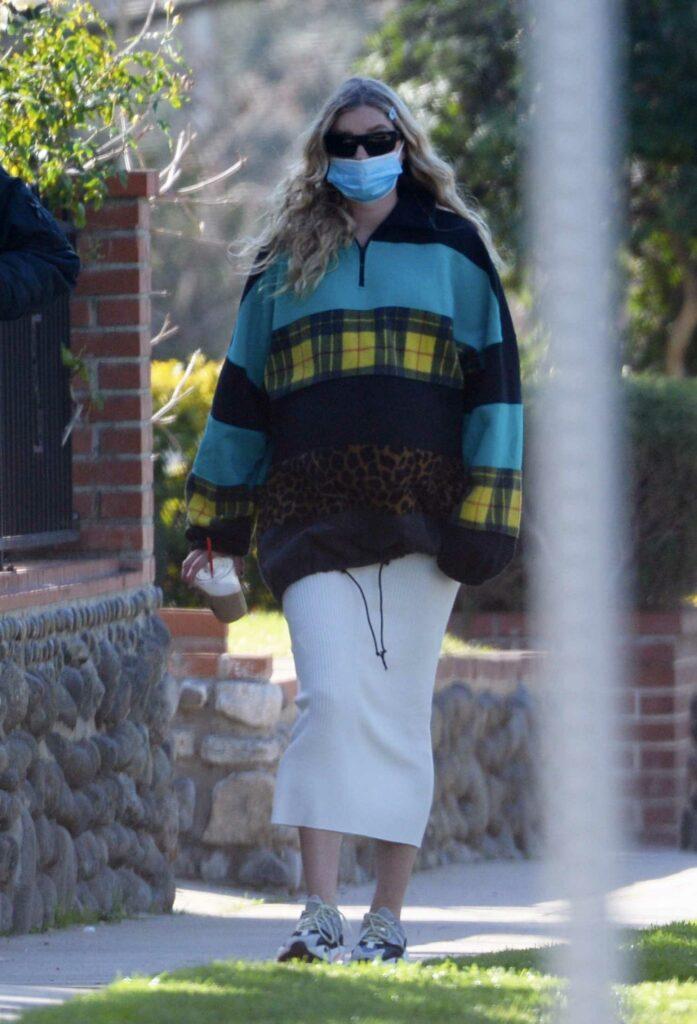 Elsa Hosk in a Protective Mask