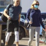 Emma Krokdal in a Protective Mask Arrives at Gold's Gym Out with Dolph Lundgren in Venice