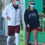Emma Krokdal in a Protective Mask Arrives at Whole Foods with Dolph Lundgren in West Hollywood