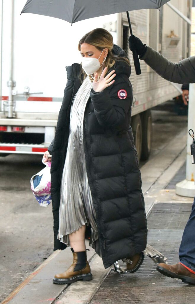 Hilary Duff in a Black Puffer Coat