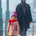 Irina Shayk in a Black Knit Hat Was Seen Out with Her Daughter in New York