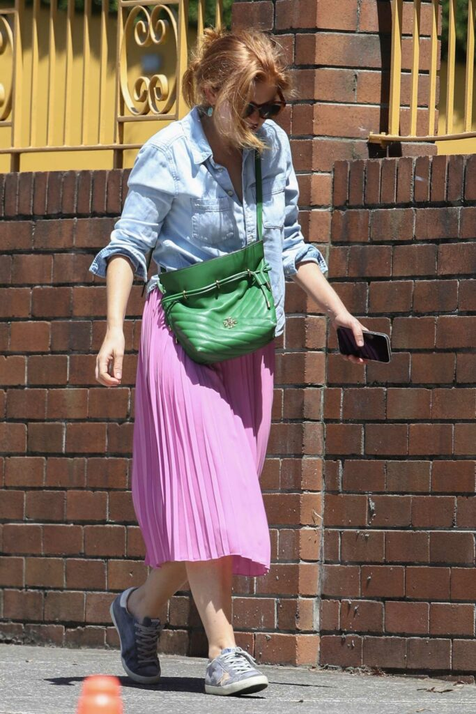 Isla Fisher in a Lilac Skirt