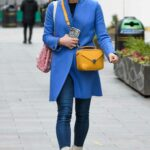 Jenni Falconer in a Blue Coat Leaves the Global Studios in London