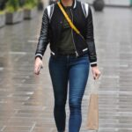 Jenni Falconer in a White Sneakers Leaves the Global Studios in London
