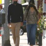 Jordana Brewster in an Animal Print Blouse Out with Mason Morfit Arrives at Caffe Luxxe in Brentwood