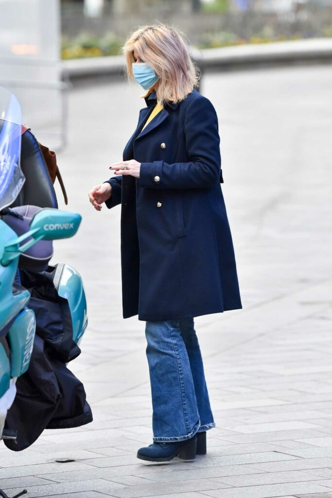 Kate Garraway in a Blue Coat