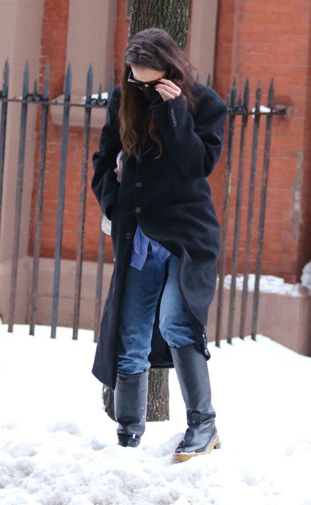 Katie Holmes in a Black Coat