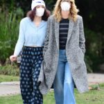 Laura Dern in a Grey Coat Takes a Walk with Her Daughter Jaya Harper in Brentwood