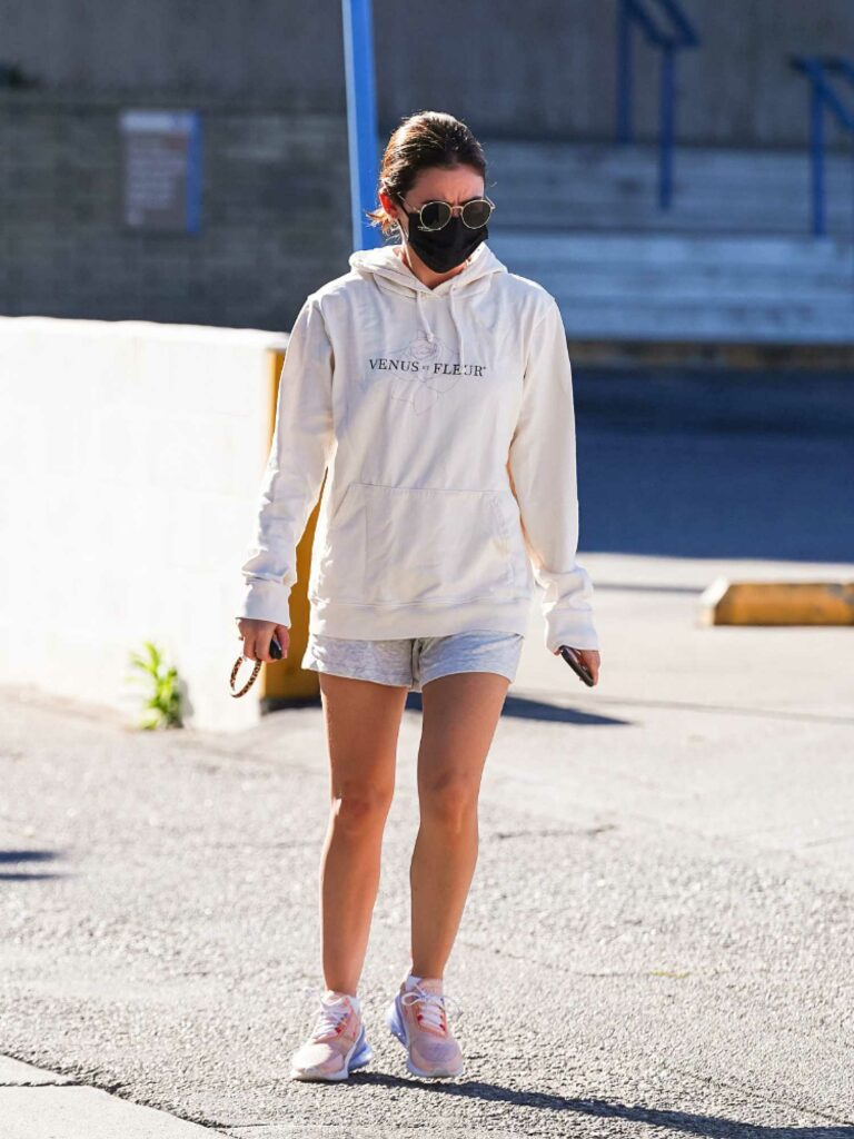 Lucy Hale in a White Hoodie