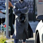 Mandy Moore in a Grey Coat Leaves a Friend's House in Los Angeles