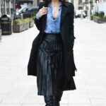 Myleene Klass in a Black Trench Coat Arrives at the Smooth Radio Studios in London