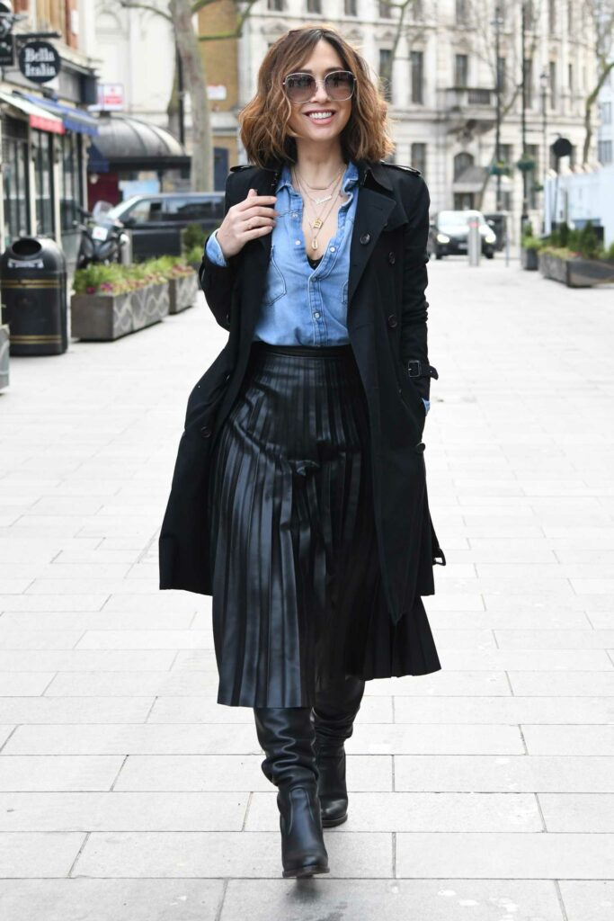 Myleene Klass in a Black Trench Coat