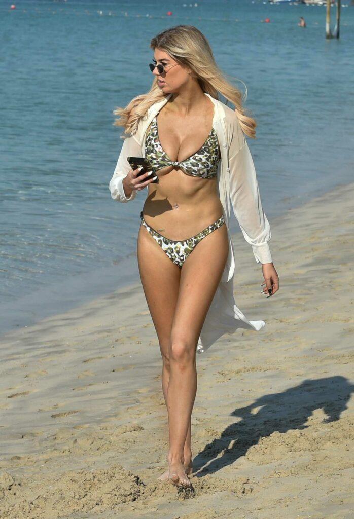 Nicole O'Brien in an Animal Print Bikini