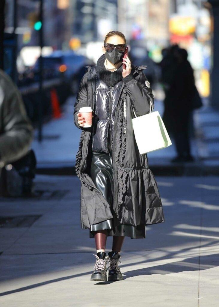 Olivia Palermo in a Black Puffer Coat