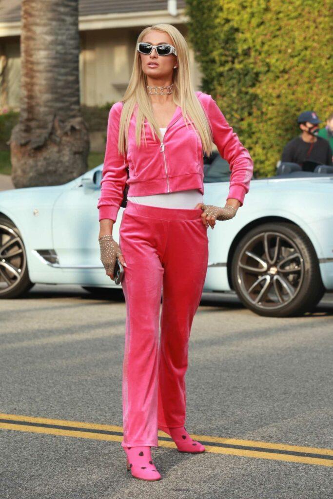 Paris Hilton in a Pink Tracksuit