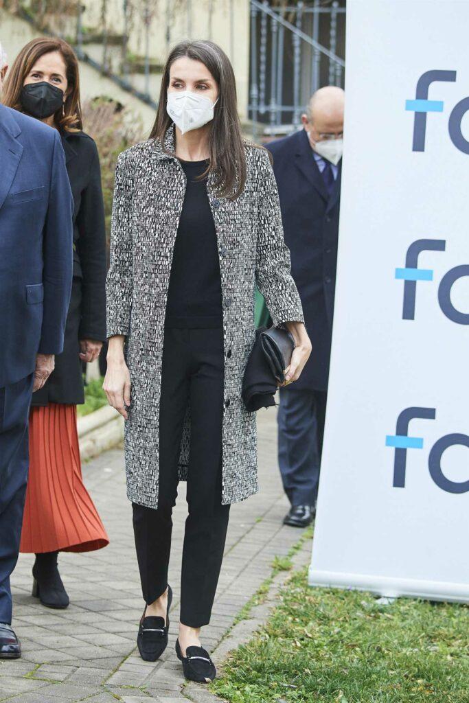 Queen Letizia of Spain in a Grey Coat