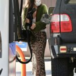 Scout Willis in an Animal Print Skirt Stops to Gas Up Her Car in Los Feliz