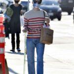 Selma Blair in a Striped Sweater Goes Shopping in Malibu