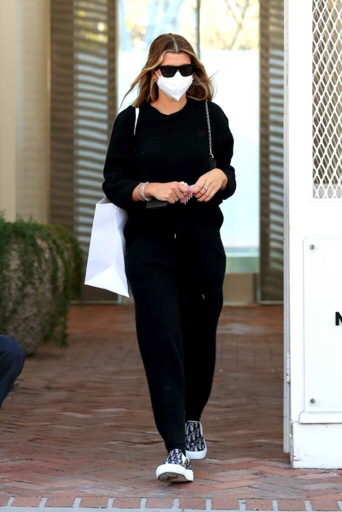 Sofia Richie in a Black Sweatsuit