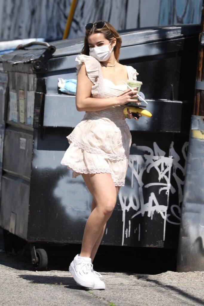 Addison Rae in a Pink Mini Dress