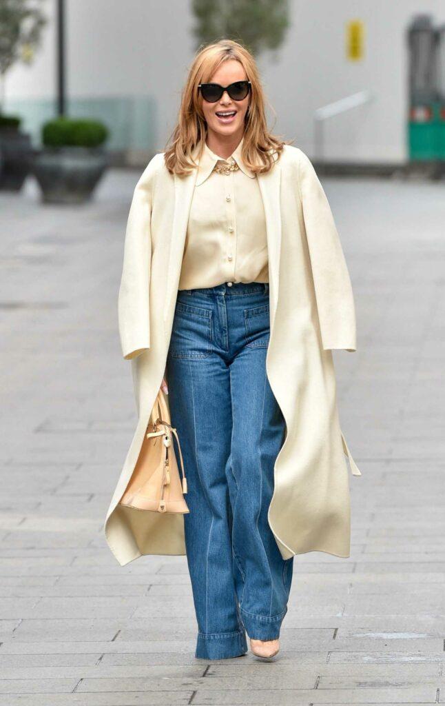 Amanda Holden in a Beige Blouse