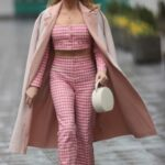 Amanda Holden in a Pink Gingham Suit Arrives at the Heart Radio Studios in London