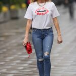 Amanda Holden in a White Tee Leaves the Global Studios in London