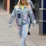 Ashley Roberts in a Denim Suit Leaves the Heart Radio Studios in London