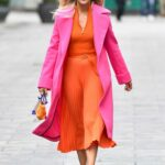 Ashley Roberts in an Orange Dress Leaves the Global Studios in London