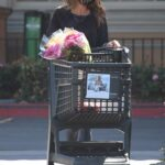 Brooke Burke in a Black Leggings Makes a Huge Flower Purchase at Ralphs in Malibu