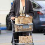 Chrissy Teigen in a Grey Coat Does a Grocery Run at Bristol Farms in Los Angeles