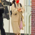 Drew Barrymore in a Red Protective Mask Leaves Work at CBS in New York