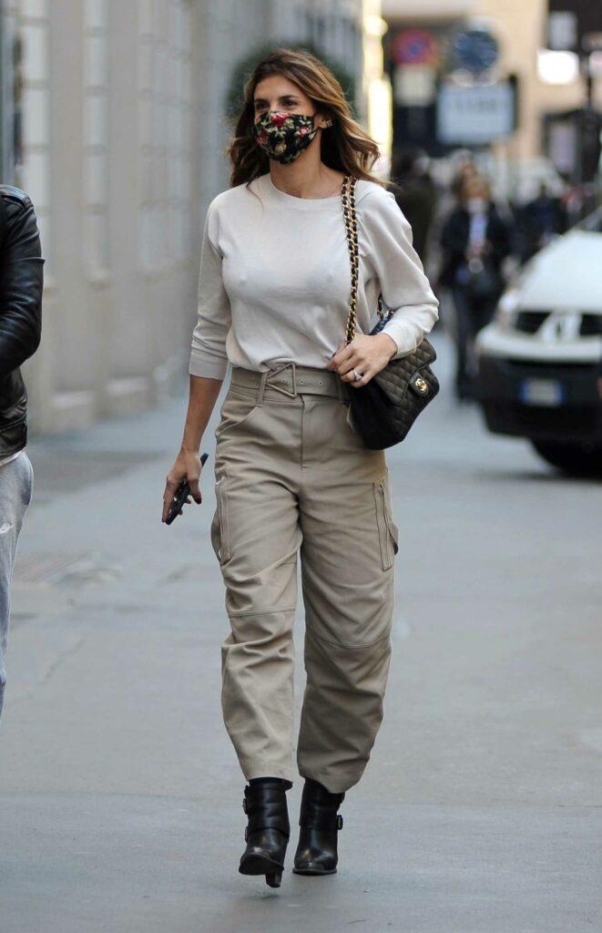 Elisabetta Canalis in a Beige Pants